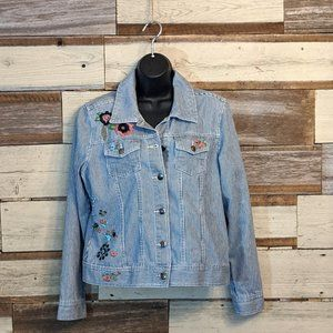 Super Cute Embroidered Striped Jean Jacket Sz M